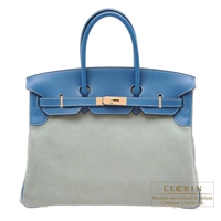 Hermes Birkin bag 35 Ciel/Blue de galice Grizzly leather/Evercolor leather Champagne gold