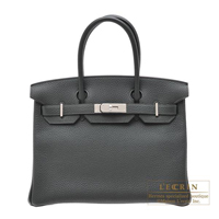 Hermes Birkin bag 30 Vert fonce Togo leather Silver hardware