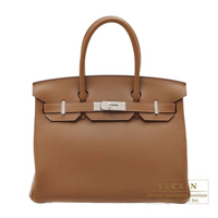 Hermes Birkin bag 30 Alezan Clemence leather Silver hardware