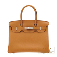 Hermes Birkin bag 30 Caramel Togo leather Silver hardware