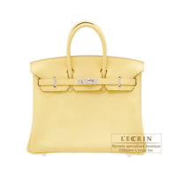 Hermes Birkin bag 25 Jaune poussin Swift leather Silver hardware
