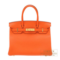 Hermes Birkin bag 30 Feu Togo leather Gold hardware