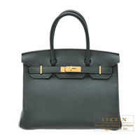 Hermes Birkin bag 30 Vert fonce Clemence leather Gold hardware