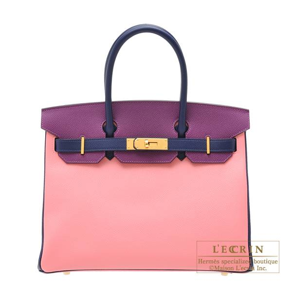Hermes Personal Birkin bag 30 Rose confetti/ Anemone/ Blue saphir Epsom leather Gold hardware