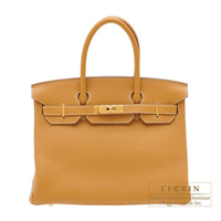 Hermes Birkin bag 30 Natural sable Clemence leather Gold hardware