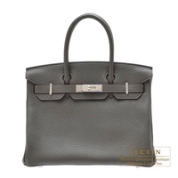 Hermes Birkin bag 30 Vert gris Clemence leather Silver hardware