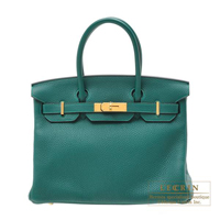 Hermes Birkin bag 30 Malachite Clemence leather Gold hardware