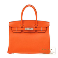 Hermes Birkin bag 30 Feu Togo leather Silver hardware