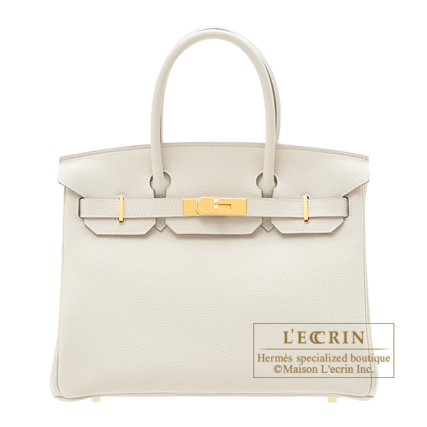 Birkin bag 30 Craie Togo leather Gold hardware