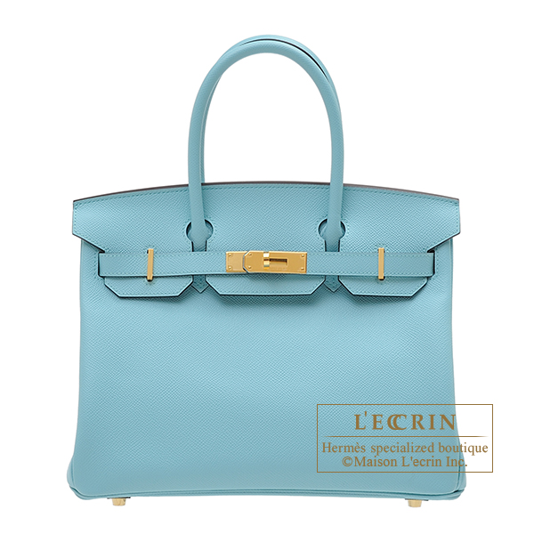 Hermes Birkin bag 30 Blue atoll Epsom leather Gold hardware