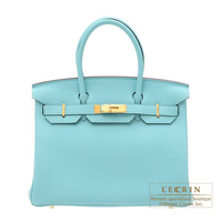 Hermes Birkin bag 30 Blue atoll Togo leather Gold hardware