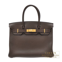 Hermes Birkin bag 30 Cafe Clemence leather Gold hardware