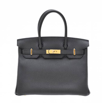 Hermes Birkin bag 30 Plomb Clemence leather Gold hardware