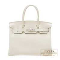 Hermes Birkin bag 30 Craie Clemence leather Silver hardware