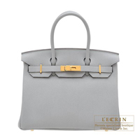 Hermes Birkin bag 30 Blue glacier Togo leather Gold hardware