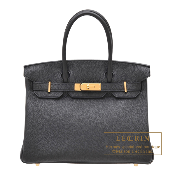 Birkin bag 30 Black Togo leather Gold hardware