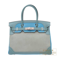 Hermes Birkin Ghillies bag 30 Ciel/Turquoise blue Grizzly leather/ Clemence leather/Evercolor leather Silver hardware