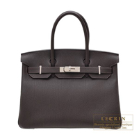 Hermes Birkin bag 30 Macassar Togo leather Silver hardware