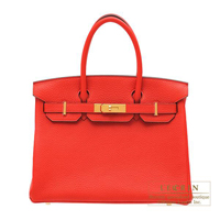 Hermes Birkin bag 30 Rouge tomate Clemence leather Gold hardware
