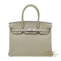 Hermes Birkin bag 30 Sauge Clemence leather Silver hardware