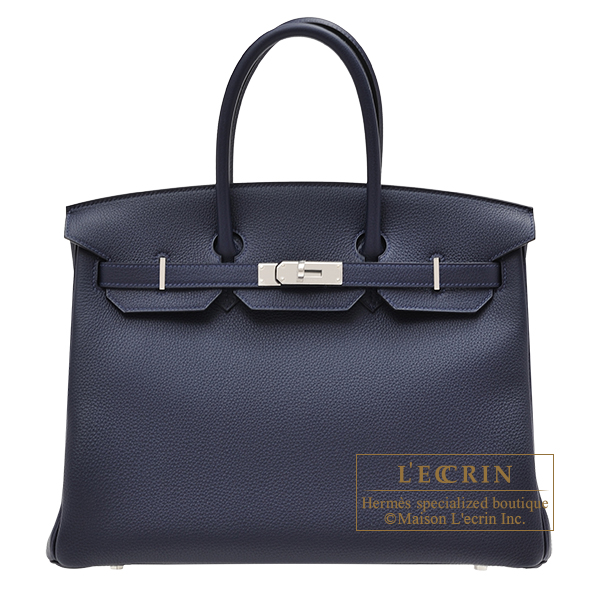 Hermes Birkin bag 35 Blue nuit Togo leather Silver hardware