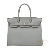 Hermes Birkin bag 30 Gris mouette Togo leather Silver hardware