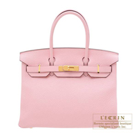Hermes Birkin bag 30 Rose sakura Clemence leather Gold hardware