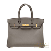 Hermes Birkin bag 30 Etain Epsom leather Gold hardware