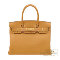 Hermes Birkin bag 30 Natural sable Togo leather Gold hardware