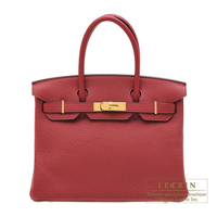 Hermes Birkin bag 30 Rouge grenat Clemence leather Gold hardware