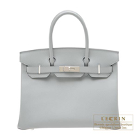 Hermes Birkin bag 30 Blue glacier Epsom leather Silver hardware