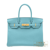 Hermes Birkin bag 30 Blue Saint-Cyr Clemence leather Gold hardware