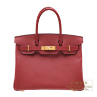 Hermes Birkin bag 30 Rouge grenat Epsom leather Gold hardware