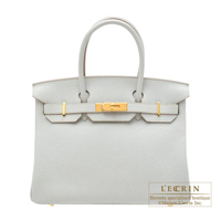 Hermes Birkin bag 30 Pearl grey Clemence leather Gold hardware