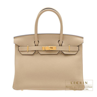 Hermes Birkin bag 30 Trench Togo leather Gold hardware