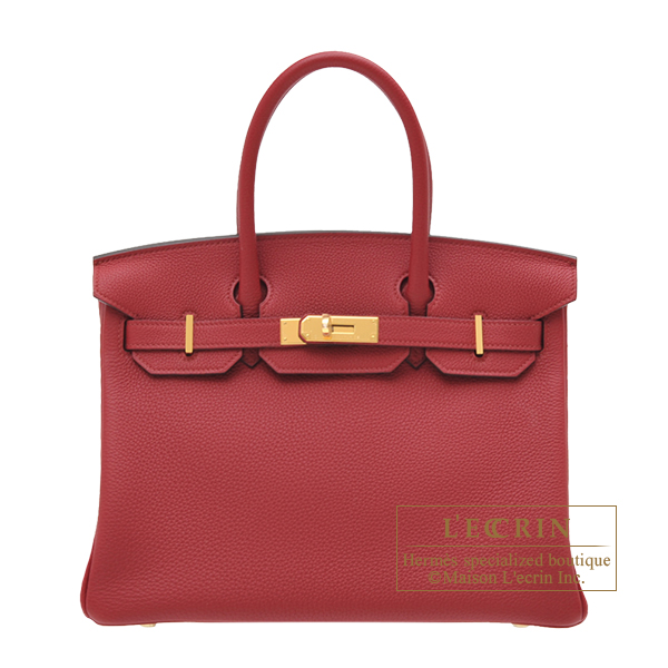 Hermes Birkin bag 30 Rouge grenat Togo leather Gold hardware
