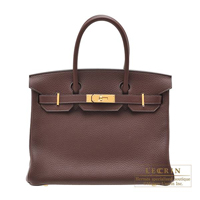 Hermes Birkin bag 30 Havane Clemence leather Gold hardware