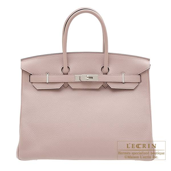 Hermes Birkin bag 35 Glycine Clemence leather Silver hardware