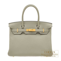 Hermes Birkin bag 30 Sauge Clemence leather Gold hardware