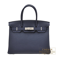 Hermes Birkin bag 30 Blue nuit Togo leather Silver hardware