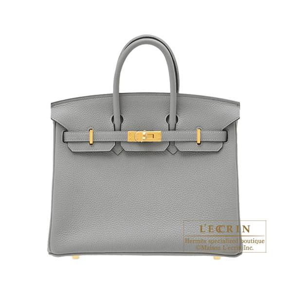 Hermes Birkin bag 25 Gris mouette Togo leather Gold hardware
