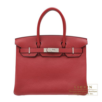 Hermes Birkin bag 30 Rouge grenat Clemence leather Silver hardware
