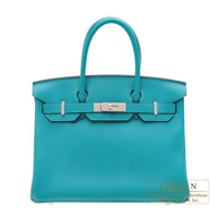 Hermes Birkin bag 30 Blue paon Clemence leather Silver  hardware