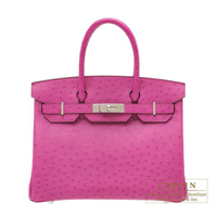 Hermes Birkin bag 30 Rose purple Ostrich leather Silver hardware