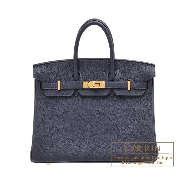 Hermes Birkin bag 25 Blue nuit Togo leather Gold hardware