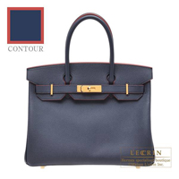 Hermes Birkin Contour bag 30 Blue indigo/ Rouge H Epsom leather Gold hardware