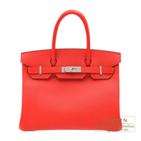 Hermes Birkin bag 30 Rouge tomate Epsom leather Silver hardware