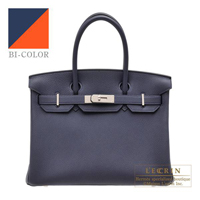 Hermes Birkin Verso bag 30 Blue nuit/ Orange poppy Togo leather Silver hardware