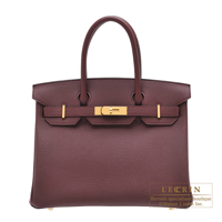 Hermes Birkin bag 30 Bordeaux Togo leather Gold hardware