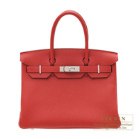 Hermes Birkin bag 30 Rouge vif Togo leather Silver hardware